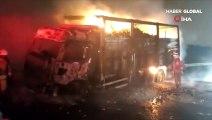 Kuzey Marmara otoyolunda yüklü araç alev alev yandı
