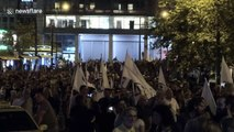 Trade union members in Greece march against conservative government's labour reforms