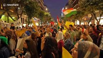 Hundreds of Kurdish protesters rally outside US consulate in Thessaloniki, Greece