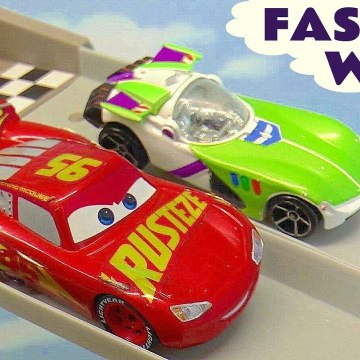 Hot Wheels Fastest Wins with Disney Pixar Cars 3 Lightning McQueen vs Toy Story 4 and DC Comics Batman in this family friendly full episode english story for kids