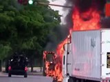 Aftermath of fierce gun battles in Culiacán, northern Mexico after police detain druglord El Chapo's son