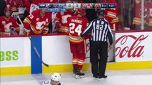 Elias Lindholm Hits Tyler Myers, Who Gets Up And Sends Mark Giordano Flying