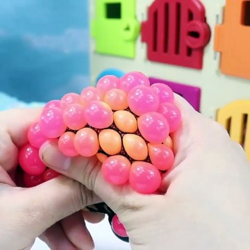 Learning Colors with Squishy Mesh Balls and SLIME Fun For Kids