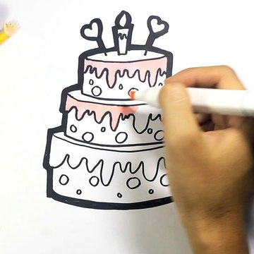 Drawing And Coloring Birthday Cakes For Children