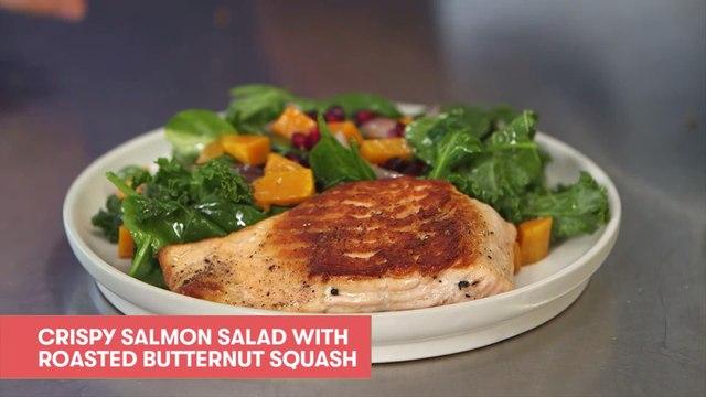 Crispy Salmon Salad with Roasted Butternut Squash LIVE