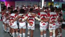 Japan final huddle in changing room