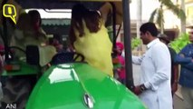 JJP's Dushyant Chautala Arrives at Polling Booth With Family on a Tractor
