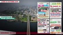 Le titrologue du 21 octobre 2019- Du jamais vu en Côte d'Ivoire