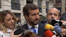 """Casado exige a Sánchez actuar con """"ley y orden"""" en Cataluña"""