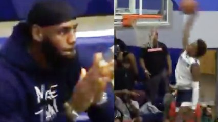 LeBron James REACTS To Bronny Jr's 1st Sierra Canyon DUNK!