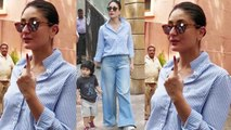 Kareena Kapoor Khan cast her vote with Taimur Ali Khan; Watch video | FilmiBeat