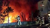 Sarıyer'de hurdalık ve kağıt deposu olarak kullanılan alanda çıkan yangın eve sıçradı