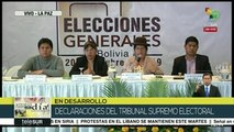 Bolivia: rechaza Tribunal Supremo Electoral acusaciones de fraude