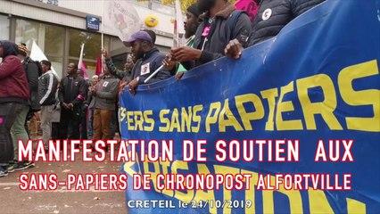 MANIFESTATION DE SOUTIEN AUX SANS-PAPIERS de Chronopost Alfortville