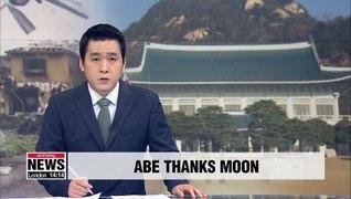 Abe thanks President Moon for sending condolences over Typhoon Hagibis