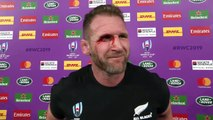 Kieran Read reacts to his side's RWC Semi-Final defeat to England