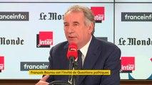 """François Bayrou : """"La laïcité, c'est la règle pour qu'on puisse vivre ensemble. Or assez souvent elle est utilisée non pas pour vivre ensemble, mais pour vivre les uns contre les autres."""""""