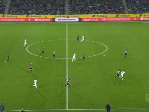 Bundesliga: 9e j. - L'ouverture du score de Marcus Thuram pour Monchengladbach