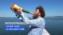 Des instruments de musique fait avec des fruits et légumes