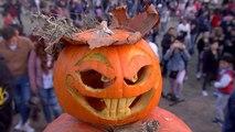 Halloween begeistert Bukarest: 5 Meter hoher Berg aus Kürbissen