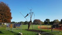 A suspected arson attack has burnt the wicker man at Wicksteed Park