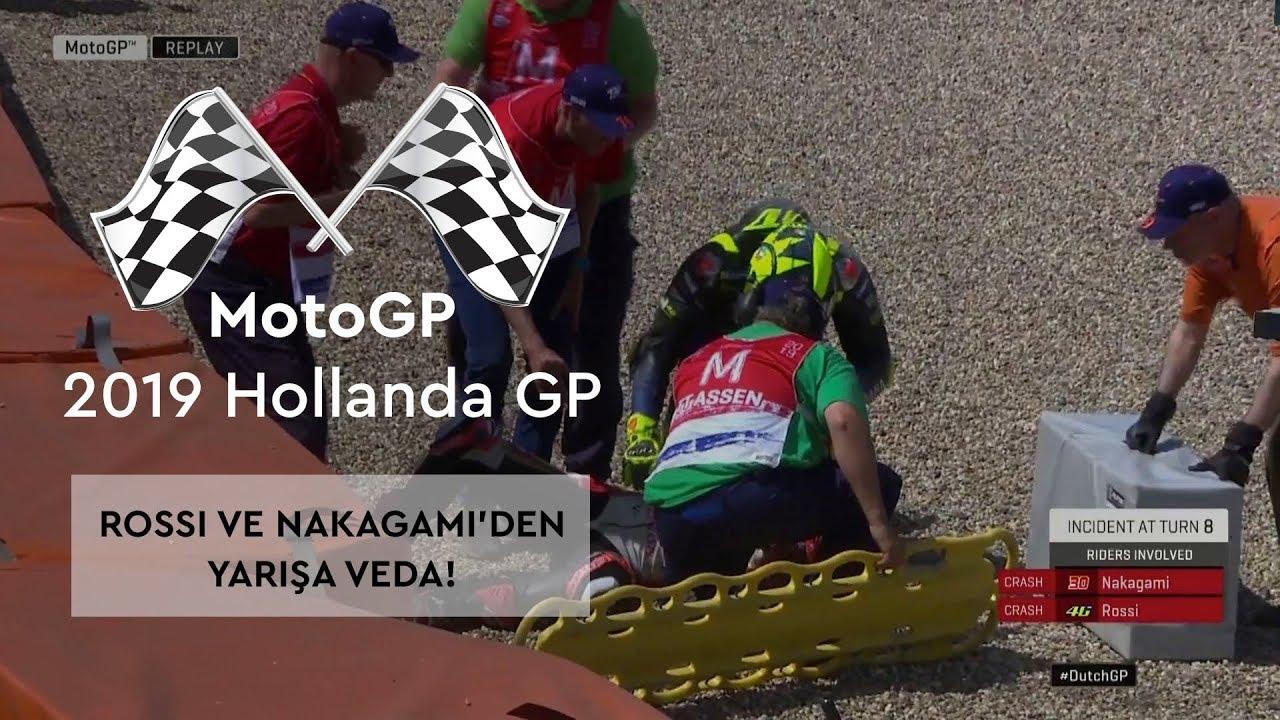 Rossi ve Nakagami'den Kaza! (MotoGP 2019 - Hollanda Grand Prix)