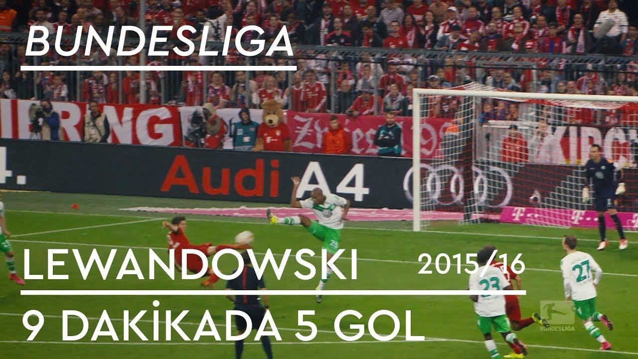 Lewandowski'den Wolfsburg'a 9 Dakikada 5 Gol | 2015/16 - 6. Hafta