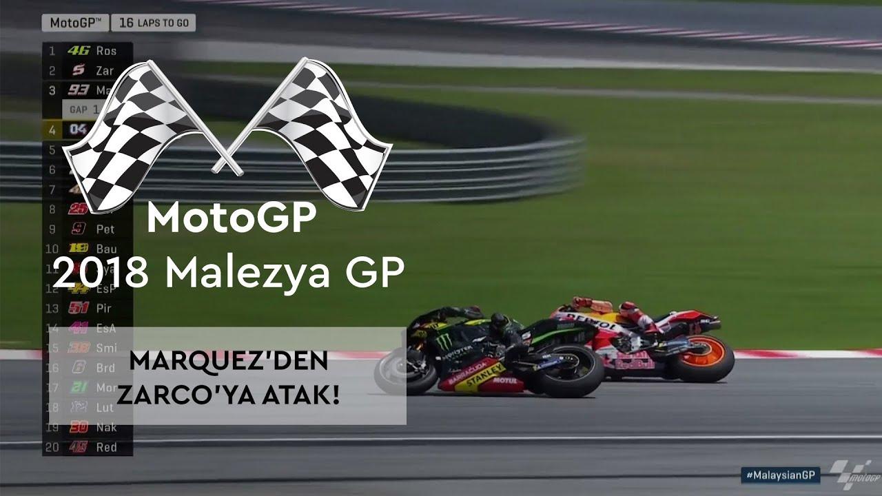 Marquez'den Zarco'ya Atak! (MotoGP 2018 - Malezya Grand Prix)