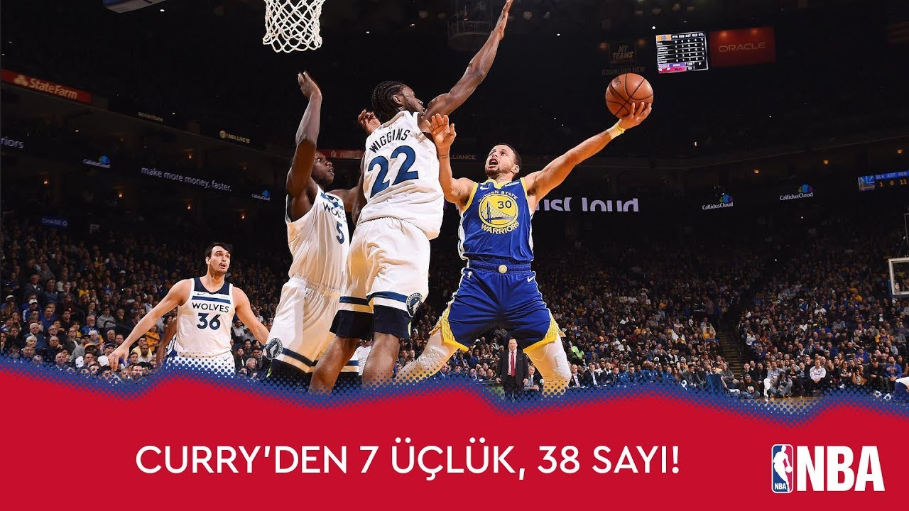 Stephen Curry'den Timberwolves'a 38 Sayı!