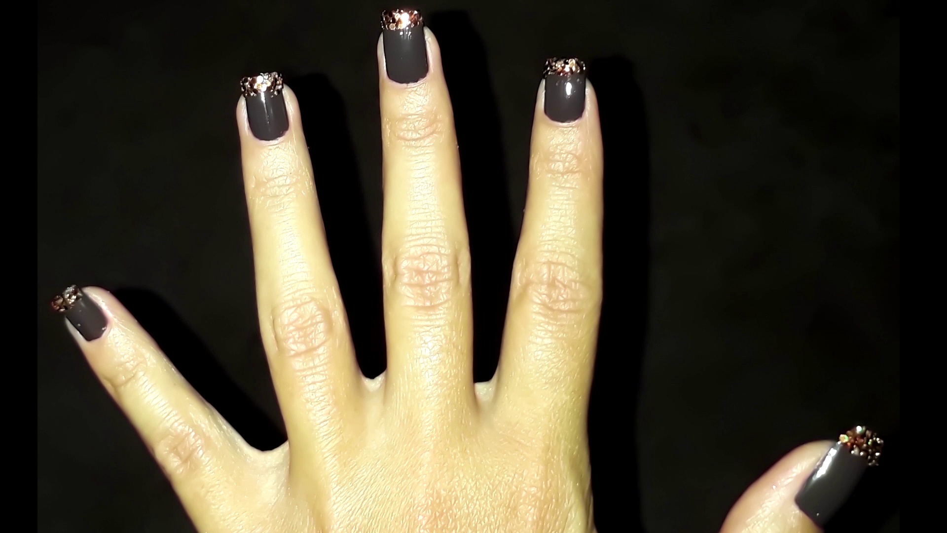 Super Easy Glamorous Brown Nail Art Design for Fall