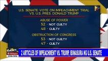2 articles of impeachment vs Trump, ibinasura ng US Senate