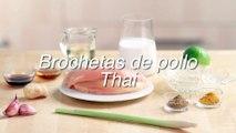 Receta  de brochetas de pollo thai