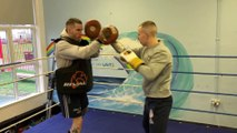 Boxer Ewan Mackenzie and coach Callum Larson