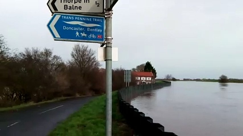 The River Don at Thorpe in Balne, site of a flood warning