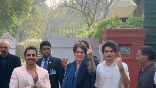 Priyanka Gandhi and family cast vote
