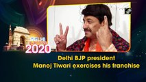 Delhi BJP president Manoj Tiwari exercises his franchise