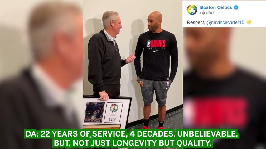 C's Gift Vince Carter With Photo Of His First NBA Basket