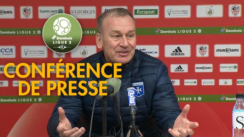Conférence de presse AC Ajaccio - AJ Auxerre (2-3) : Olivier PANTALONI (ACA) - Jean-Marc FURLAN (AJA) - 2019/2020