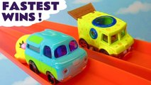 Hot Wheels Fastest Wins Funlings Race with Disney Pixar Cars 3 Lightning McQueen vs Toy Story 4 Ducky and Bunny and PJ Masks Full Episode English