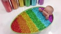 Baby Doll Glitter Slime Egg Bath DIY Learn Colors Slime Clay Disney Frozen Cake Toys For Kids-