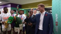 F***! You're so tall: Duke of Sussex meets South African rugby team