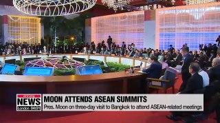 President Moon begins three-day trip to Bangkok to attend ASEAN summit meetings