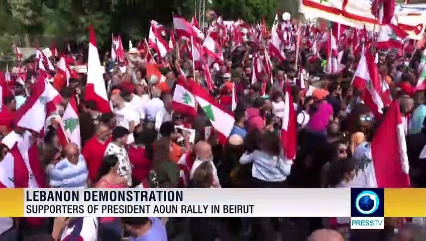 Supporters of president Aoun rally in Beirut