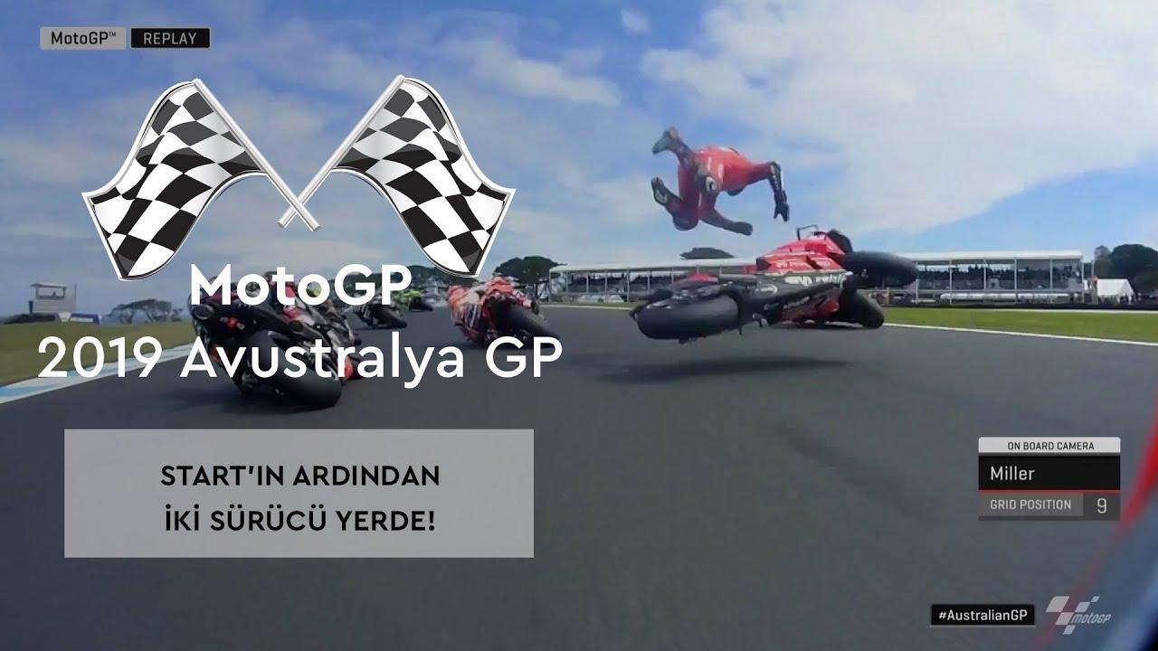 Start'ın Ardından İki Sürücü Yerde! (MotoGP 2019 - Avustralya Grand Prix)