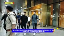 Spotted: Virat Kohli & Anushka Sharma twinning in an all black attire at the Airport