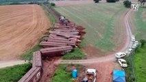 Pelo menos 20 vagões descarrilam em grave acidente na Grande Curitiba