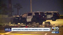 Tempe officers injured in wrong way crash in Phoenix