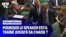Royaume-Uni: pourquoi le Speaker est-il trainé jusqu'à sa chaise ?