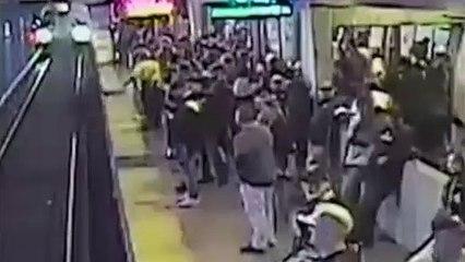 Héroe salva a un borracho después de caer a las vías del tren
