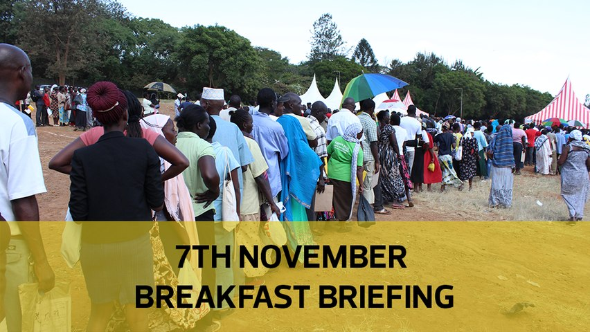 Kibra D-Day| Ruto-Kalonzo alliance| Waititu could lose seat: Your Breakfast Briefing